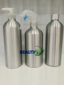 China Empty metal cosmetic Packaging refillable aluminum hair salon spray bottles with pumps on sale