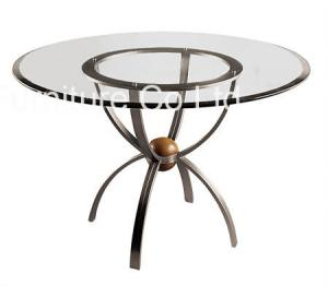 China Stainless Steel Leg Round Commercial Restaurant Tables Modern Glass Top on sale