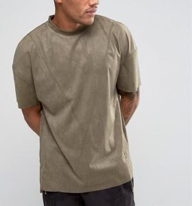 China New Style Side Split Oversized Crew Neck T Shirt , Embroidery Suede T Shirt Mens on sale