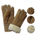 Economic and soft double face sheepskin gloves patched gloves real leather lamb fur gloves