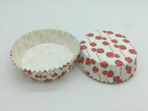 China Cute Strawberry PET Film Coated Paper Heat Resistant Cupcake Cup Disposable Paper Baking Use on sale