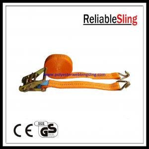 China Car hauler / Boat trailer Ratchet Tie Down Strap with hooks 25mm 1.5T on sale