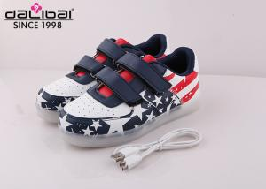 China American Flag Low Cut Childrens LED Shoes Remote Control / USB Charging on sale