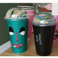FDA Plastic Coffee Cups Disposable Insulated Beverage With Plastic Lid and lable printing