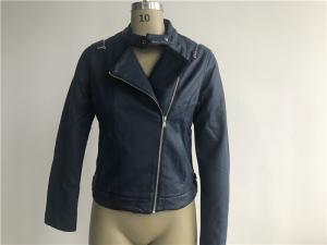 China High Fashion Navy Ladies PU Jacket , Womens Leather Coats LEDO1721 on sale