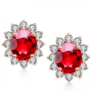 China Genuine Diamond Gemstone Jewelry Natural Ruby Diamond Stud Earrings on sale