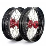 CNC Anodized17 Inch Dirt Bike Supermoto Wheels With Spokes Rims Hubs 36 Holes