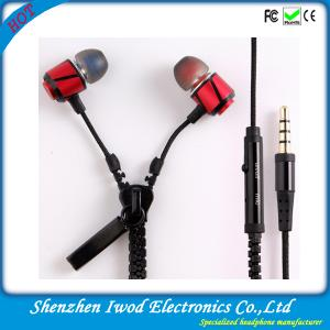 China Latest stylish metal zipper earphone with mic for apple iphone 6 samsung galaxy s5 on sale