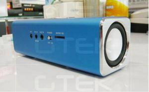 China Blue Aluminum Durable Radio Bluetooth Speaker Rechargeable For HTC / Iphone 5 on sale