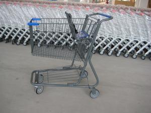 China Supermarket Wire Shopping Basket With Wheels , Commercial Shopping Trolley on sale