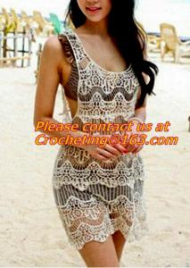 China women clothing summer Hollow out belt sexy knitted crover up crochet beach dress robe femm on sale