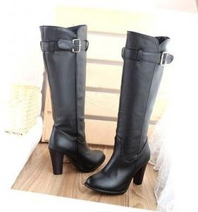 China Hot fashion Women lady black PU leather high thick heel knee party boots shoes US5-8 BO08 on sale