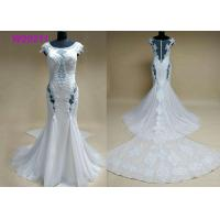 High-end Sexy Lace Up Sleeveless Appliques Beading Mermaid Wedding Dresses