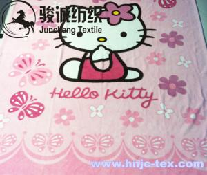 China 100% Polyester Cartoon Printed Flannel Blanket Fabric Coral Fleece for apparel/bed on sale