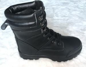 China Pu / Rubber Outsole Army Safety Shoes High Cut Black Military Combat Boots on sale