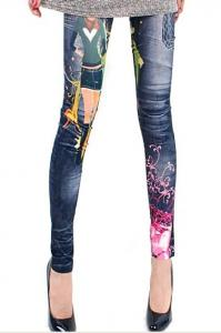 China Womens Tight Pants , Floral Print Leggings , Casual Slim Fit on sale