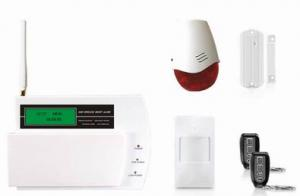 China auto-dial gsm alarm systems with 4 wired and 12 wireless defense zones on sale