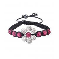 China White & dark rose flower CZ + AB clay 8mm shamballa beads bracelets on sale