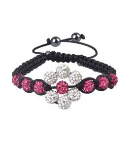 China White & dark rose flower CZ + AB clay 8mm shamballa beads bracelets on sale
