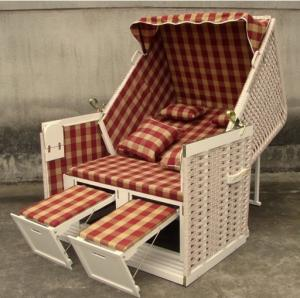 China Contemporary Leisure Wood And Resin Wicker Roofed Beach Chair & Strandkorb on sale