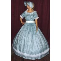 China Civil War Dress Wholesale XXS to XXXL CIVIL WAR SASS DICKENS VICTORIAN Aqua Print Costume Dress Gown with Bonnet Hat on sale