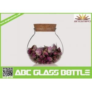 China High quality fat clear glass storage jar with cork on sale