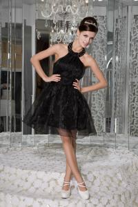 China Chic Scoop A Line Black Organza Cocktail Dress With Beads on sale