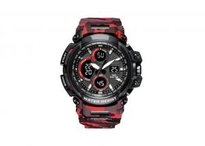 China Rubber Band 12 / 24 Hour Stopwatch , LED Male Camo Sports Watch Customized Logo on sale