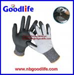 Foam nitrile cut resistant gloves with UMW PE Fiber shell