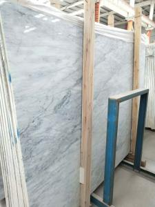 China Striped Synthetic Marble Stone Slab , Solid Marble Slab With Blue Flower on sale