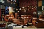 China Modern Brown Leather Sectional Sofas , Tan Soft Leather CouchHigh Back Cushion wholesale