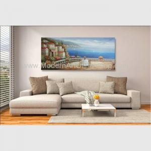 China Handmade Framed Mediterranean Landscape Paintings On Canvas Italy Cafe Senery on sale