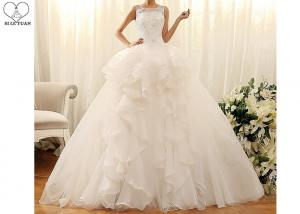 China Off White Sleeveless Lace Wedding Dress , Organza Ball Gown Beading Puffy Tail on sale