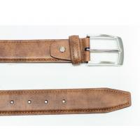 Tan Pronged Buckle Harness Leather Belt For Mens , Custom Leather Belts