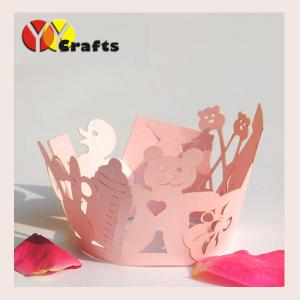 China Lovely Laser Cut Cupcake Wrappers for baby shower party paper pink or blue color on sale