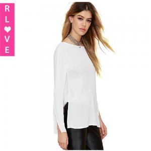China 2015 spring models female long-sleeved shirt solid color simple deep V halter white shirt on sale
