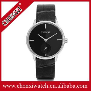 China Rose Gold Silver High Quality Leather Watch Original Quartz Watch Man Stainless Steel Caseback CHENXI Watch on sale