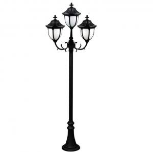 China Antique European Triple Head Cast Iron Lamp Post Anti Corrosion For Park Decorative on sale