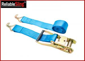 Quality 4T 50mm Polyester Orange Double J Hook Ratchet Straps , Car Trailer Tie Down Straps for sale