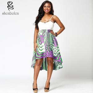 China Fabric African Print High Waist Midi Skirts High Low Style For Summer / Spring on sale