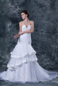 China 2013 New Style V Neck Organza Ruffle Strapless Mermaid Wedding Gowns with Beaded on sale