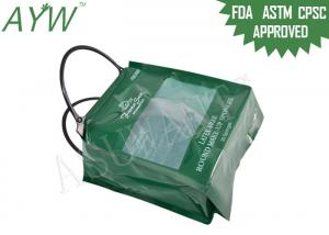 China Compras promocionales de la bolsa de asas plástica portátil de la parte inferior plana con el escudete lateral verde on sale