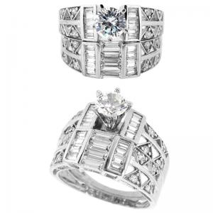 China Elegant & unique fashion design gold diamond engagement and crystal wedding ring sets on sale