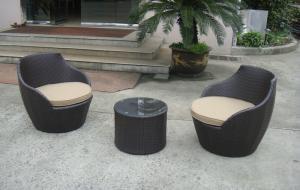 China Dark Brown Resin Wicker Obelisk Chair , Rattan Bullet Sofa Set on sale