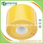 Couleur jaune élastique de la bande 5cmX5m de thérapie de sports de coton