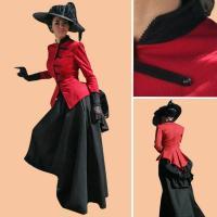 Civil War Dress Wholesale XXS to XXXL Custom Made Civil War Dress Southern Belle Red & Black Medieval Dress