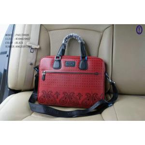 China Prada Red Embossing Leather Briefcases Bags Men Handbags With Shoulder Straps on sale