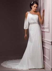 China Sheath / Column Beach Themed Wedding Dresses Fully Lined And One Shoulder on sale