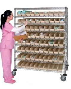 China NSF Metal Bin Display Shelving Rack for Hospital/Drugstore on sale