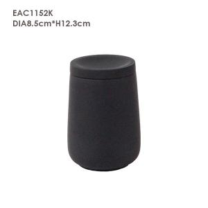 China Pure Black Concrete Candle Holder With Lid 5% Christmas tree Scent on sale